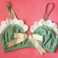 CARRY / Scalloped organic cotton bralette with a bow / Made to order