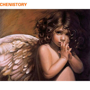 CHENISTORY Angel DIY Painting By Numbers Modern Abstract Oil Painting On Canvas Handpainted Home Wall Art Picture Unique Artwork
