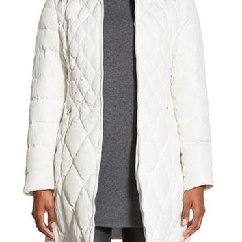 Women's Jessica Simpson Faux Fur Trim Hooded Quilted Coat,