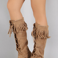 Fringe Cuff Vegan Suede Lace Up Moccasin Boots