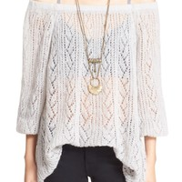 Free People 'Lights Will Shine' Sheer Off the Shoulder Sweater | Nordstrom
