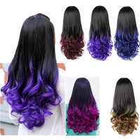 Colorful Long Wavy Wig,New Fashion Style Women Wavy Ombre Synthetic Lace Front Wig