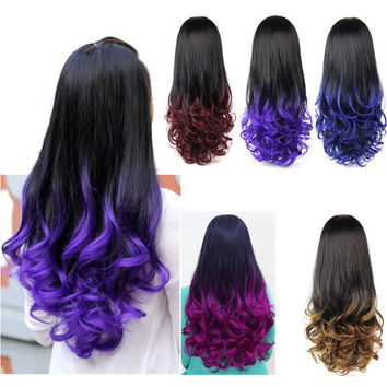 10 Colors 28'' 280g Women's 3/4 Full Head Long Wavy Wig, Curly Ombre Synthetic Half Wig Wavy Heat Resistant Synthetic Wigs