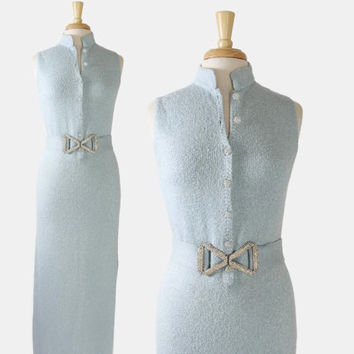 60s ST JOHN Maxi DRESS / Vintage 1960s Metallic Baby Blue Sparkle Knit Rhinestone Wiggle Dress