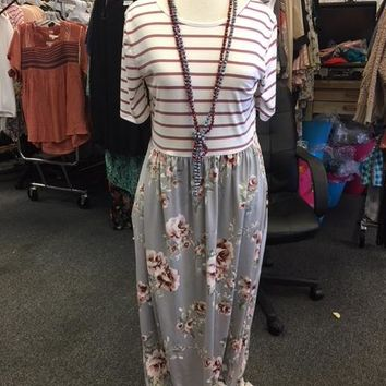 Maroon Strip top with grey floral bottom maxi dress