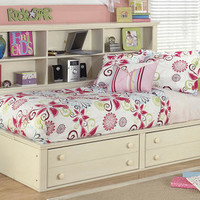 Chloe Twin Size Big Bookcase Captains Bed
