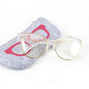 ROYAL GIRL Newest Cat Eye Eyeglasses Frames Women Glasses Brand Designer Optical Glasses With Bag SS