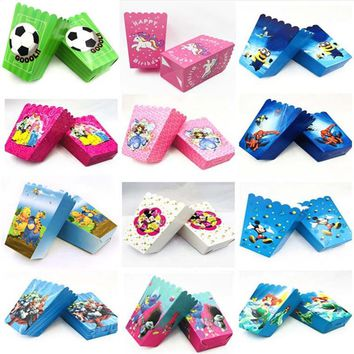 Little Mermaid/Hello Kitty/Minions/Minnie Mouse/Avengers/Happy Kids Birthday Party Disposable Paper Popcorn Tubs Boxes Supplies