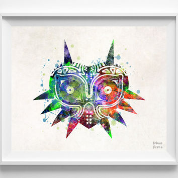 Majora's Mask, Watercolor, Print, Video Game, Legend of Zelda, Poster, Christmas, Illustration Art, Wall, Kid Room, Nursery, Home Decor