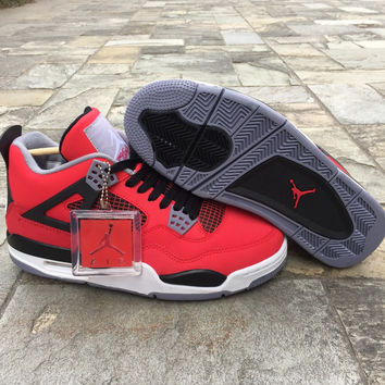 "Air Jordan 4 Retro ""Toro Bravo"" Men's Shoes Fire Red/White-Black-Cement Grey"