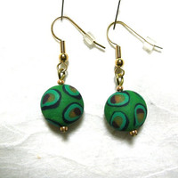Green Peacock Bead Dangle Earrings, Greenery Earrings, Peacock Earrings; Free Shipping