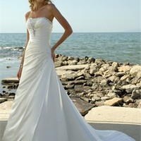 Embroidery And Swarovski Crystals Strapless Cathedral Train Beach Wedding Dress WD0069