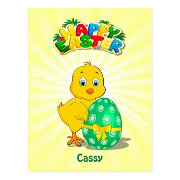 Little Easter Chicken Cartoon Postcard