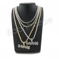 """ICED OUT Gold SAVAGE BUBBLE PENDANT W/ 24"""" ROPE /18"""" TENNIS CHAIN NECKLACE SC004"""