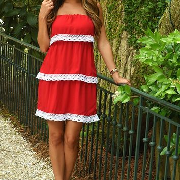 Layer It On Me Dress: Red/White - Hope's Boutique