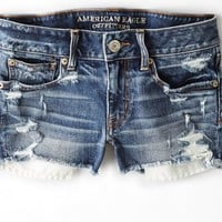 AEO Women's Destroyed Denim Shortie (Medium Destroyed)