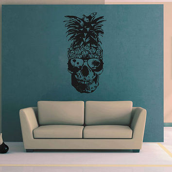 kik3233 Wall Decal Sticker skull funny Pineapple sunglasses living room bedroom