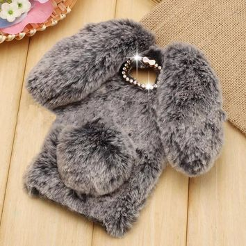 Cute Rabbit Hair Soft TPU Bling Phone Case For Samsung Galaxy S8 Plus S7 S6 edge S5 S4 Note 4 Note 5 J3 J5 J7 A5 2016 2017 Cover