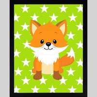 Fox on Lime Green Stars Print Nursery Decor Baby Print Animals Art CUSTOMIZE YOUR COLORS 8x10 Prints Nursery Decor Art Baby Room Decor Kids