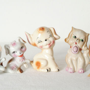 Vintage Ceramic Dog and Cat Figurines from Japan and Mexico