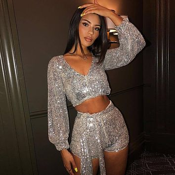 Sparkling Full Sequins 2 Piece Outfits Long Sleeve V Neck Crop Tops Sexy Hot Shorts With Sash Women Slim Matching Sets Party