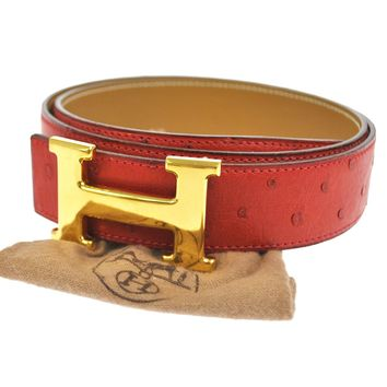 Authentic HERMES Vintage H Buckle Constance Reversible Belt Ostrich Red NR06356