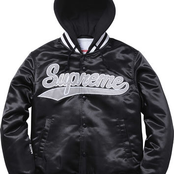 Supreme Hooded Satin Varsity Jacket