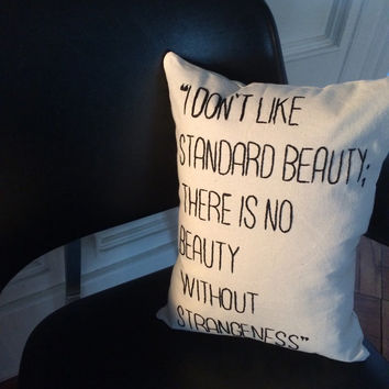 Handmade Embroidered Canvas Karl Lagerfeld Quote Pillow