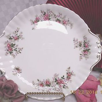 Royal Albert England China dinnerware Lavender Rose Handled Cake plate