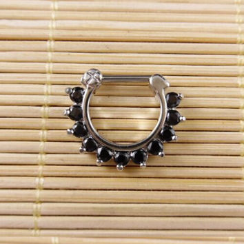 2015 Fake Piercing 1 Pcs/lot Colorful Nose Ring Surgical Steel Cz For Clicker Small Hoop Septum Jewerly Body Piercing Jewelry