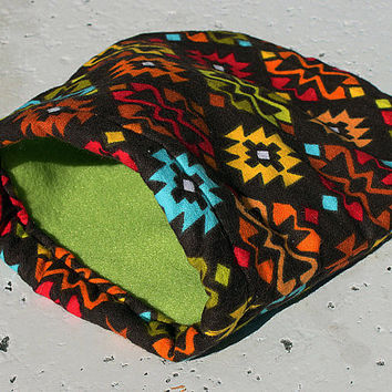GREEN Tribal Small Animal Reversible Fleece Flannel Cozy Bed