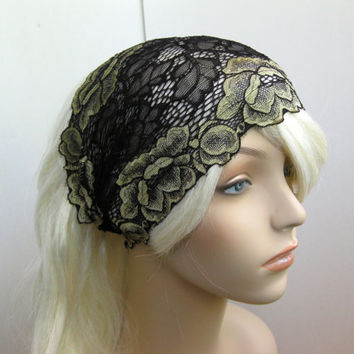 Wide Stretch Lace Headband Gold Flowers and Black Leaves, Traditional Head Covering, Fall Hair Accessory