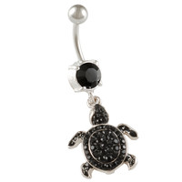Jet Crystal Turtle Dangle Belly Button Ring [Gauge: 14G - 1.6mm / Length: 10mm] 316L Surgical Steel & Crystal
