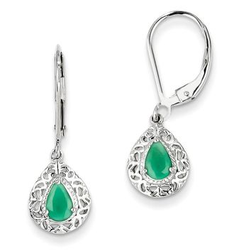 Sterling Silver Genuine Emerald Pear Teardrop Filigree Lever Back Earrings