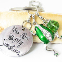 Frog Keychain, Frog Key Chain, Love Keychain, Frog Gift, Green Frog Keychain, Frog Accessories, Backpack Charm