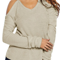 Women Apricot Cold Shoulder Knit Long Sleeves Sweaters