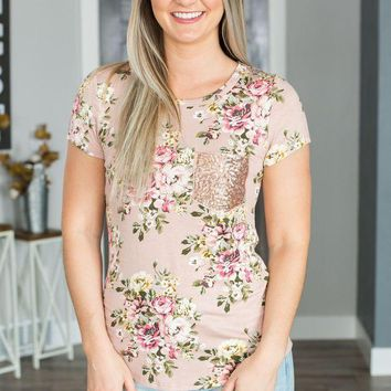 PEAPVA6 Floral Sequin Pocket Top- Dusty Pink