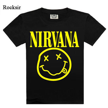 Hot Sale Men`s T-shirt Printed Nirvana Metallica Slipknot Rose Pink Floyd Rock Band T-shirts Men Rocksir Brand Tees A3 M-XXXL