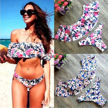 Off The Shoulder Floral Bathing Suit - Women Bandage Bikini Set Push-up Padded Bandeau Swimsuit Bathing Beach Swimwear