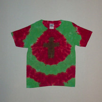 Tie Dye Christmas Cross T-Shirt - Any Size & Style Available