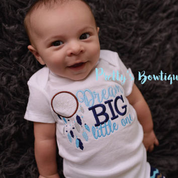 Baby Boy Dream Big Little One --Dream Big little one shirt or bodysuit dream catcher. Perfect for hospital or coming home outfit