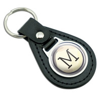 Letter M Typewriter Key Black Leather Keychain