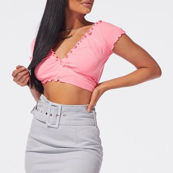 Get it Gurl Wrap Crop Top Hot Pink