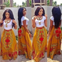 White Crop Top and Dashiki Maxi Skirt