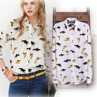 Fox Print Long Sleeve Shirt Collar Blouse