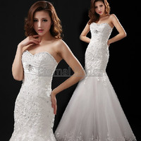 Sweetheart NecklineLace Bodices with  Beads Mermaid Wedding Dress Cheap Quality Wedding Dress 2013