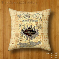 Decorative cushion Cool Harry Potter marauders map Double Side Pillow Case cover 16 18 20 inch by ThreeSecond2014