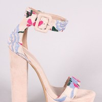 Shoe Republic LA Floral Embroidery Open Toe Chunky Platform Heel