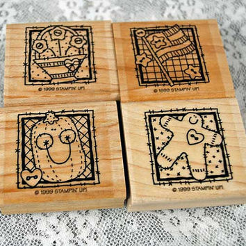 """Stampin Up Rubber Stamps - """"Seasonal Patches"""" - MINT, RETIRED - Four Holiday Stamps - Scrapping, Cardmaking, Crafts"""