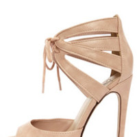 My Delicious Talbot Blush Lace-Up Peep Toe Heels